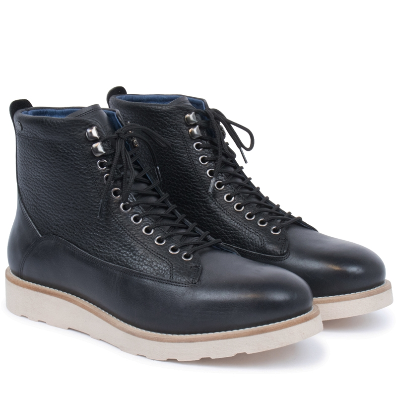 Quick-leather-boot-wedge-sole-black-pair
